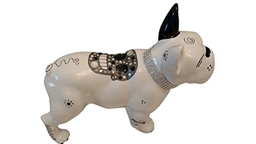 Statue of French Bulldog Ceramic, Standing, Length 12,6 inches. Decoration Laure Terrier Model Holga