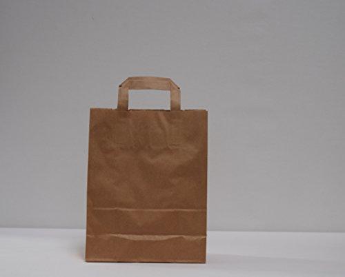 250x Papiertragetaschen Braun Papiertaschen Papiertüten M. Flachhenkel 22+10x28cm