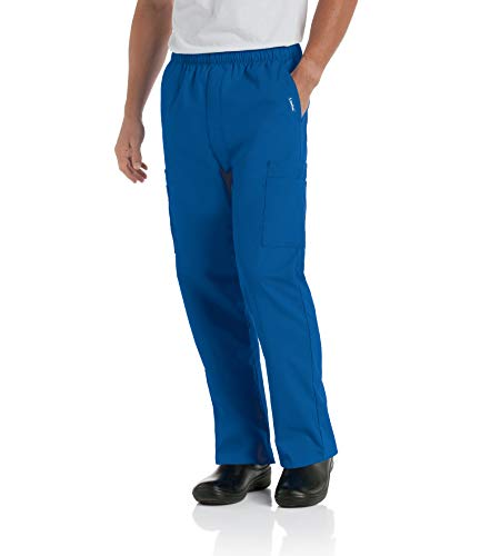 Landau Men's Comfort 7-Pocket Elastic Waist Drawstring Cargo Scrub Pant, Galaxy Blue, Large