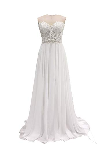Women's Simple Front Slit Beach Wedding Dress Sweetheart Beaded Lace Bridal Gown US6