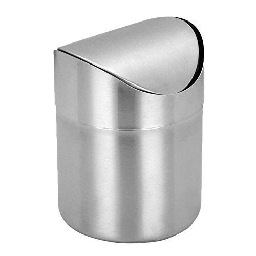 La papelera de la basura de escritorio de acero inoxidable, la basura del automóvil, la papelera de la oficina con la tapa giratoria, el mini papel de basura for el automóvil, el hogar, la oficina, la