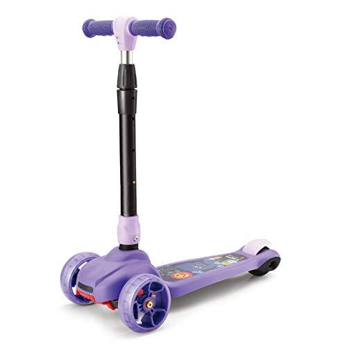 WFSH Scooter Infantil One Second Scooter Plegable y Torcido 2-8 años ensanchado Grande silencioso Rueda Intermitente (Color : Purple)