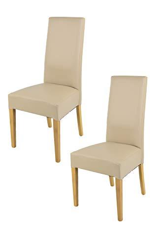 Tommychairs - 2er Set Moderne Stühle Luisa für Küche und Esszimmer, robuste Struktur aus lackiertem Buchenholz Farbe Eiche, Gepolstert und mit Kunstleder in der Farbe Leinen bezogen