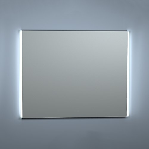 Kristaled Aran Led 100x80 cm Bisel Mate Lateral Espejo de Baño, Cristal, Plateado, 100x80x2.5 cm
