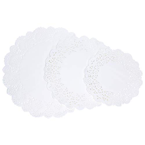 Tupalizy 45PCS Disposable Lace Paper Doilies for Cakes Desserts Plates Tables Paper Placemats for Crafts Serving Trays Holiday Wedding Christmas Tea Party Decors Gifts Wrapping, 6.5, 8.5 and 10.5inch