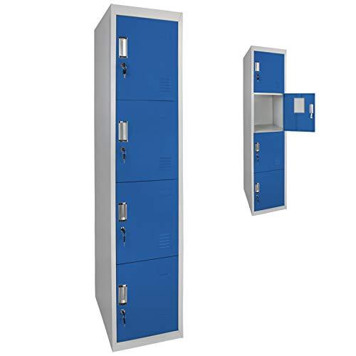 Spind Schließfachschrank Metallschrank Mehrzweckschrank 4 Abteile 180 x 38 x 45 cm ; Grau-Blau