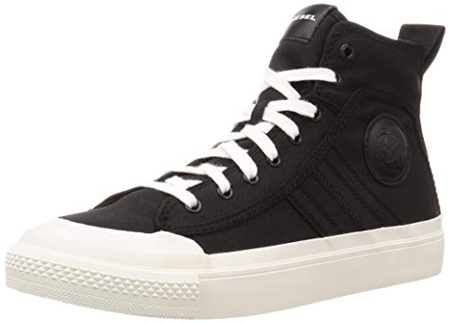 DIESEL S-Astico Mid Lace Black White Mens Canvas Hi Top Trainers