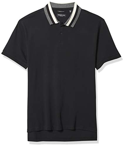 Kenneth Cole Men's Short Sleeve Contrast Tipping Polo Shirt, Black, Large
