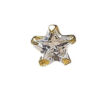 Satfale Jewellers Zirconia cúbica en forma de estrella de 3 mm CZ Sólido de oro fino de 9 quilates Único pasador/perno
