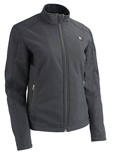 Milwaukee Performance-Women Zipper Front Heated Soft Shell Jacket w/ Front & Back Heating Elements and portable battery pack included-BLACK-2X
