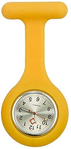 JIAQ Krankenschwester-Armbanduhr, Brosche, Silikon, mit Anstecknadel/Clip, leuchtet im Dunkeln, Farbe: Rot (Farbe: Gelb)