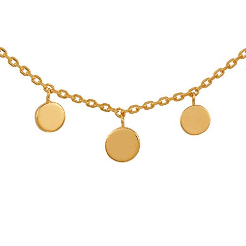 Pernille Corydon Kette Anhänger Kleine Münzen - Magical Moments Serie Halskette Plättchen 925 Silber Vergoldet Hochglänzend - N315g
