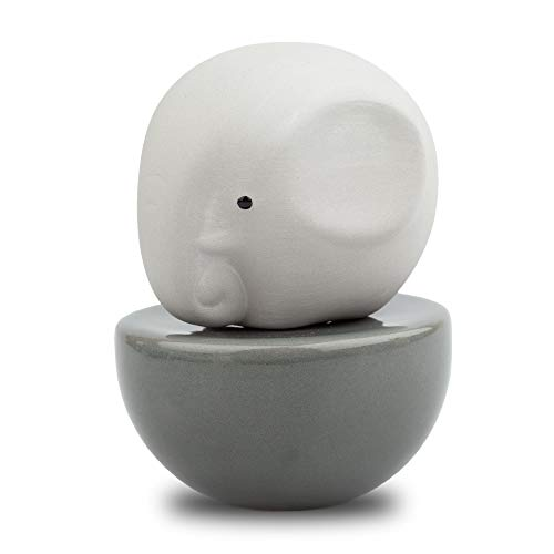 Lively Breeze Little Elephant, Diffusers for Essential Oils and Aromatherapy Fragrance, Non-Electric Ceramic, Ceramic Diffusers in Car, Ceramic Diffuser for Bathroom and Desk Office Decor, Grey Vase