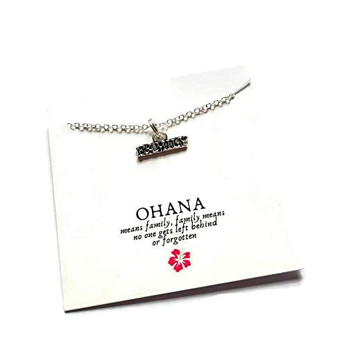 Ohana necklace, ohana means family gift, lilo stitch themed present, family jewellery, secret santa novelty