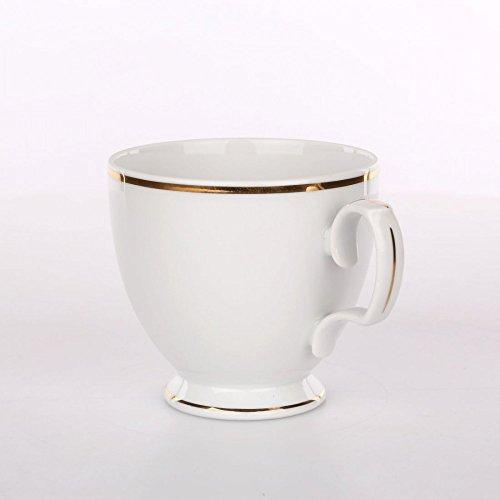 Kaffeeservice Teeservice MARIAPAULA Porzellan Chodziez Weiß mit Goldstreifen (Tasse 220 ml)
