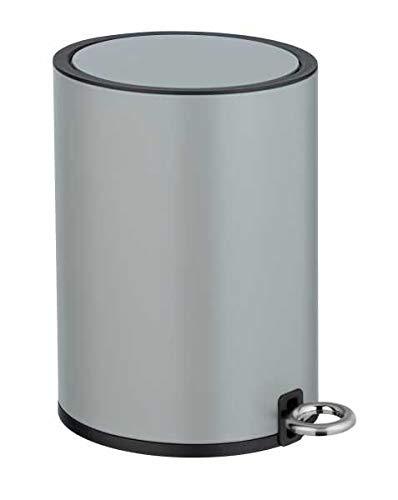 WENKO Kosmetik Treteimer Monza Easy Close Grau matt - Kosmetikeimer, Mülleimer mit Absenkautomatik Fassungsvermögen: 3 l, Stahl, 18.5 x 25.5 x 24.5 cm, Grau