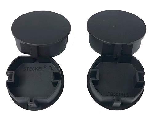 4x STECKEL schwarz Steckdosenabdeckung Staubschutz Deckel Steckdosendeckel Abdeckung für Steckdosenleisten Kabeltrommel