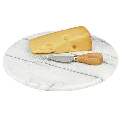 mDesign Servierplatte – rundes Tablett aus Marmor für Küche, Esszimmer, Bad oder Schlafzimmer – ideal als kleine Wurst- und Käseplatte oder Frühstückstablett – marmorgrau