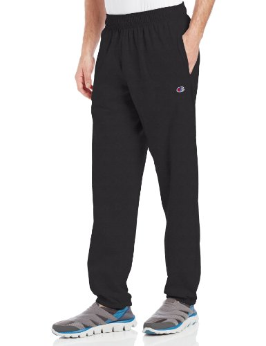 Champion Men's Closed Bottom Light Weight Jersey Sweatpant, Black, Medium