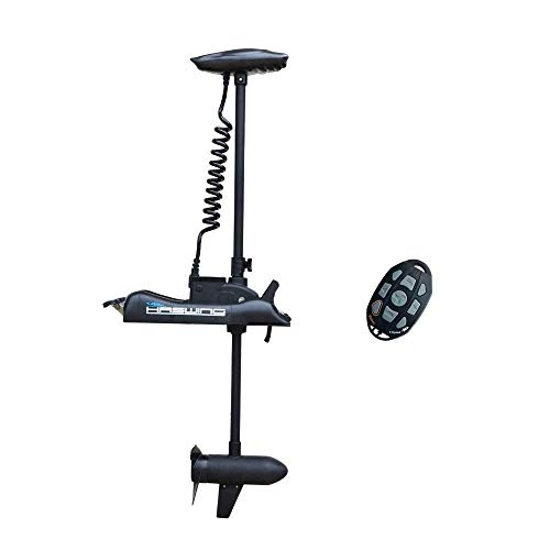 AQUOS Haswing Black 12V 55LBS 48inch Electric Bow Mount Trolling Motor with Wireless Remote Control for Inflatable Boat Kayak Bass Boat Aluminum Boat Fishing, Freshwater and Saltwater Use