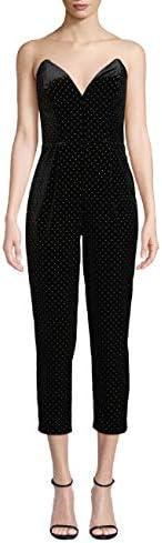 Amanda Uprichard Women s Viv Strapless Velvet Cropped Studded Jumpsuit Black Large product image