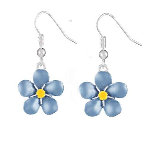 AMSITA LONDON British Forget-Me-Not Earrings in Blue Enamel Silver Tone Drop Pierced Earrings