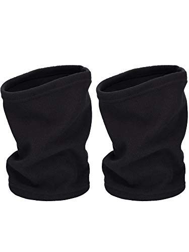 2 Pieces Neck Warmer Ear Warmer Fleece Neck Gaiter Windproof Skiing Hiking Cycling Warmer for Adults and Kids (Black and Black)