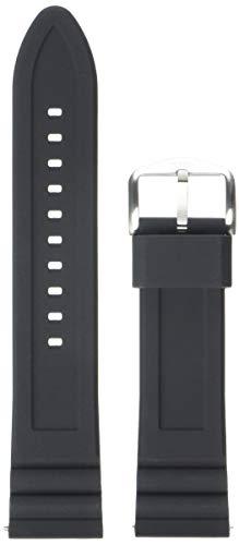 Fossil Pulseira de relógio intercambiável de silicone e aço inoxidável, Pulseira de relógio de silicone de 22 mm - S221304, Preto/prata, 22mm
