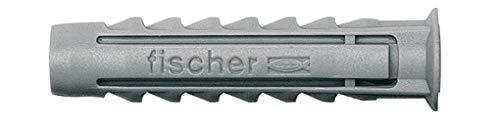 fischer Spreizdübel SX 6 x 30 S, Schachtel mit 50 Nylondübeln und passenden Schrauben, Dübel für optimalen Halt bei Befestigungen in Beton, Hochlochziegel, Porenbeton, Vollziegel uvm.