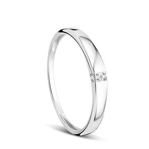 Orovi Memoire, anello da donna per matrimonio o fidanzamento, in oro bianco da 9carati (375) con diamanti da 0,02carati e Oro bianco, 53 (16.9), colore: gold, cod. OR72341R53