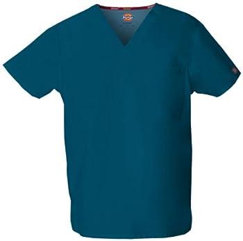 Dickies Men s Big and Tall Signature V-Neck Scrubs Shirt Caribbean Blue XXX-Large