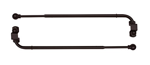 Versailles Home Fashions Pair of Swing Arm with Ball Finial, 24 by 38-Inch, Espresso