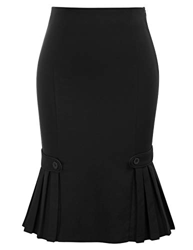 Women Vintage Retro Black Skirt Knee Length Bodycon Pencil Skirt, Small