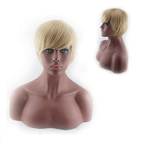 Perruque Pour Femme, Cheveux Humains Blonds, Cheveux Humains, Perruque Synthétique Chimique Naturellement Réaliste pour Robes de Soirée et Fêtes