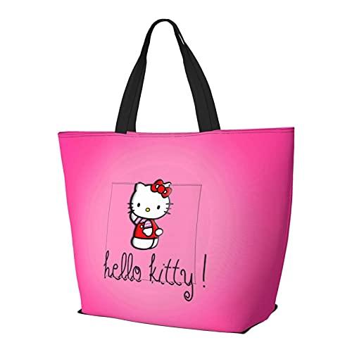 Hello Kitty Multifuncional plegable y reutilizable de gran capacidad con cremallera para mujer, bolsa de hombro, bolsa de compras, bolsa de gimnasio, bolsa de viaje, bolsa de ordenador