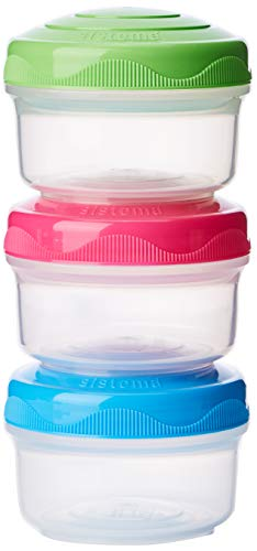 Sistema To Go Collection Mini Bites Small Food Storage Containers, 4.39 oz./130 mL, Pink/Green/Blue, 3 Count