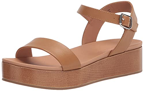 Amazon Essentials Women's Two Band Flatform Sandal Flat, Cognac PU, 7 B US
