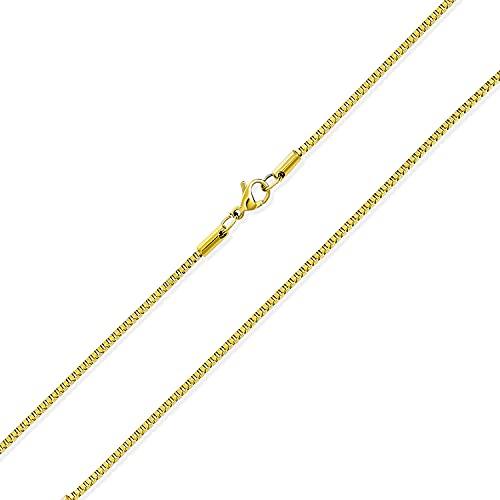 Bling Jewelry Unisex Thin Strong Simple Basic 1.5MM Amarillo Oro Chapado Acero Inoxidable Básico Veneciano Caja Eslabón Cadena Collar para Hombres Mujeres 24 Pulgadas