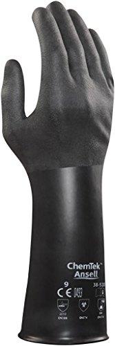 Ansell ChemTek 38-520 Butyl/Viton Handschuhe, Chemikalien- und Flüssigkeitsschutz, Schwarz, Größe 10 (1 Paar pro Beutel)