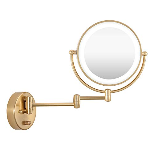 """WINGBO 9"""" LED Lighted Makeup Mirror, Hardwired Swing Arm Wall Mounted Shaving Mirror Lamp with Swivel Double Sided 1x 8X Magnification for Vanity Bathroom Bedroom (Gold)"""