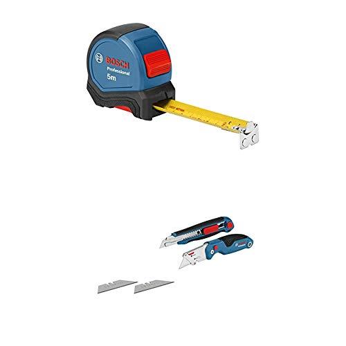 Bosch Professional Maßband 5 m (Einhandbedienung, Gürtelklemme, 2 Stopp-Tasten) + 2 tlg. Messer Set (mit Universal Klappmesser und Profi Cuttermesser, inkl. Ersatzklingen, in Blister)
