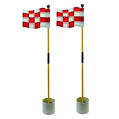Crestgolf 2-Section Portable Backyard Practice Golf Hole Cup and Flag Stick of Fiberglass, Golf Putting Green Flagstick 2 Sets Count (White-red Checkered)