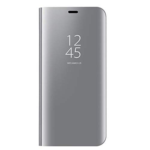 VGANA Mirro Cover per Vivo X51 5G, Luxury Mirror Specchio Standing Flip Cover Intelligente Custodia. Argento