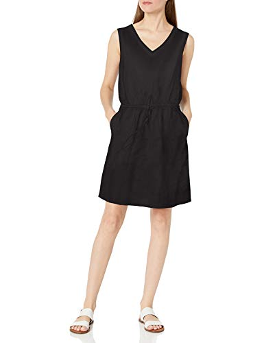 Amazon Essentials Women's Sleeveless Relaxed Fit Linen Dress, Washed Black, Medium