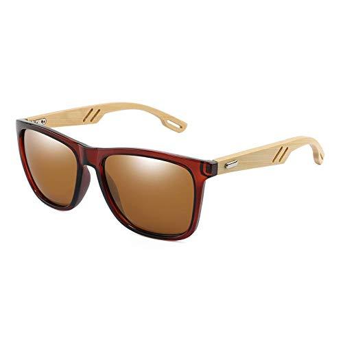 XVBTR Gafas de Sol de Madera de bambú Diseño de Marca Gafas de Sol cuadradas para Hombres Espejo de Revestimiento para Mujer Gafas de Sol Gafas Retro UV400 Sombras Gafas