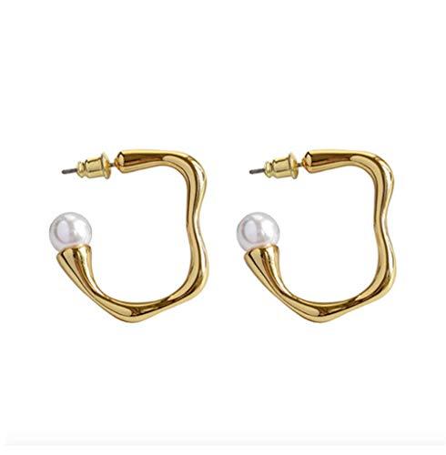 MXHJD Pendientes de aro de círculo irregular de Color dorado a la moda, pendientes de aro de perlas grandes geométricos para mujer, joyería de regalo de fiesta