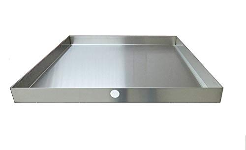 """32"""" x 30"""" 2.5"""" Heavy Duty Washer Machine Drain Pan, Stainless Steel Fine (With Hole)"""