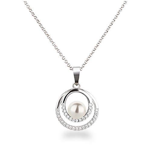 Schöner-SD Silberkette Halskette mit Anhänger Perle 925 Silber in weiß