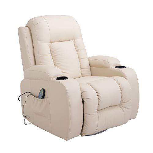 HOMCOM Massage Recliner Chair Heated Vibrating PU Leather Ergonomic Lounge 360 Degree Swivel with Remote - Cream White