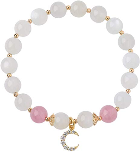 SUCICI Feng Shui Bracelet Natural White Moonstone Strawberry Crystal Moon Diamond Bangle Good Luck Lucky Peach Blossom Wealthy Amulet Bracelet for Women,13~14cm (Size : 15~16cm)